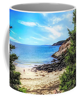 Walking On Sand Beach,maine. Coffee Mug