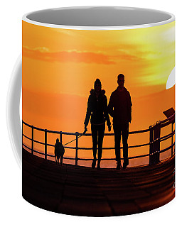 Walking The Dog At Sunset Coffee Mug