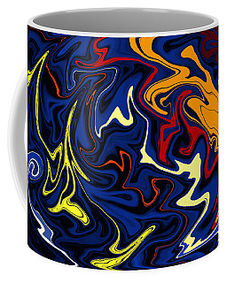 Coffee Mug featuring the digital art Warped Wet Paint Abstract In Comic Book Colors by Shelli Fitzpatrick