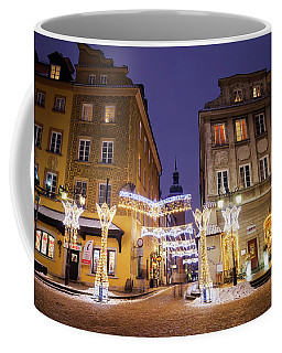 Warsaw Old Town Houses At Night Coffee Mug
