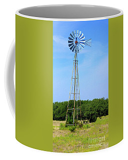 Coffee Mug featuring the photograph West Texas Windmill A9718 by Mas Art Studio