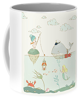 Coffee Mug featuring the painting Whale And Bear In The Ocean Whimsical Art For Kids by Matthias Hauser