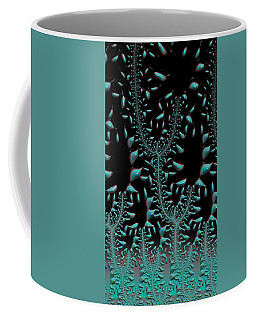 Coffee Mug featuring the digital art Where Turquoise Grows On Trees Fractal Abstract by Shelli Fitzpatrick