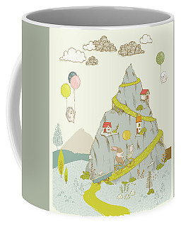 Coffee Mug featuring the painting Whimsical Mountain And Animal Art For Kids by Matthias Hauser