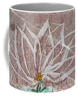 White Abstract Floral On Silverpastel Pink Coffee Mug