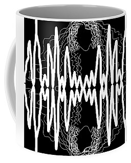 Coffee Mug featuring the drawing White And Black Frequency Mirror by Joan Stratton