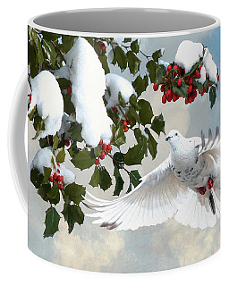 White Dove And Holly Coffee Mug