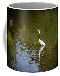 Coffee Mug featuring the photograph White Egret In Water by Lora J Wilson