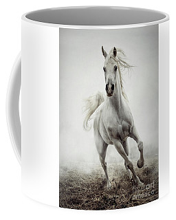 Coffee Mug featuring the photograph White Horse Running In Winter Mist by Dimitar Hristov
