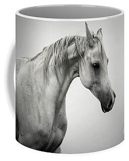 Coffee Mug featuring the photograph White Horse Winter Mist Portrait by Dimitar Hristov