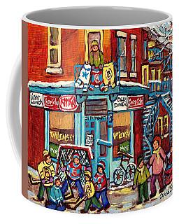 Wilensky's Winter Scenes Montreal Street Hockey Art C Spandau Quebec Snowscene Painting Canadian Art  Coffee Mug