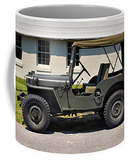 Coffee Mug featuring the photograph Willys Jeep Usa With Canopy At Fort Miles by Bill Swartwout Fine Art Photography