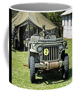 Coffee Mug featuring the photograph Willys Jeep With Machine Gun At Fort Miles by Bill Swartwout Fine Art Photography
