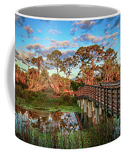 Coffee Mug featuring the photograph Winding Waters Boardwalk by Tom Claud