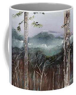Coffee Mug featuring the painting Winter At Pink Knob In Ellijay by Jan Dappen