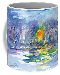 Coffee Mug featuring the painting Winter Morning Landscape by Dobrotsvet Art