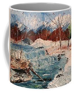 Coffee Mug featuring the painting Winter Stream by Denise Tomasura