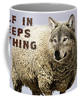 Coffee Mug featuring the digital art Wolf In Sheeps Clothing by ISAW Company