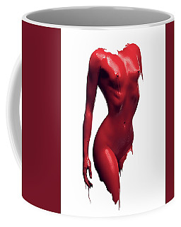 Woman Body Red Paint Coffee Mug