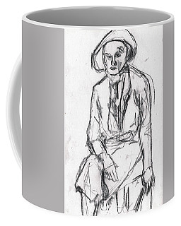 Woman In A Hat Drawing Coffee Mug