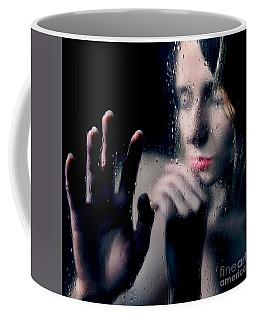 Woman Portrait Behind Glass With Rain Drops Coffee Mug