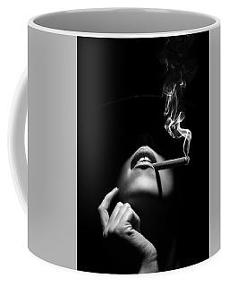 Woman Smoking A Cigar Coffee Mug
