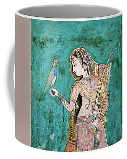 Woman With Parrot Coffee Mug