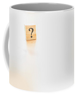 Wooden Dice With Question Mark And Doubt. Coffee Mug