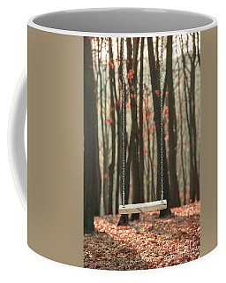 Wooden Swing In Autumn Forest Coffee Mug