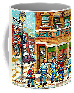 Woodland Pizza Rue Wellington Verdun Montreal Fine Art Hockey Painting C Spandau Winter Scene Artist Coffee Mug