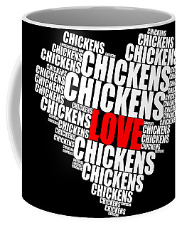 Word Cloud White Love Chickens Coffee Mug