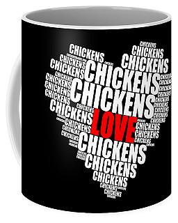 Word Cloud White Love Chickens Coffee Mug