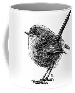Coffee Mug featuring the drawing Wren by Clint Hansen