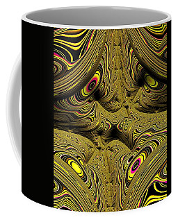 Coffee Mug featuring the digital art Wrinkles And Eyes Yellow Fractal Abstract by Shelli Fitzpatrick