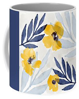 Yellow And Navy 1- Floral Art By Linda Woods Coffee Mug