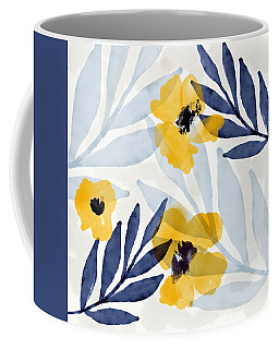 Yellow And Navy 2- Floral Art By Linda Woods Coffee Mug