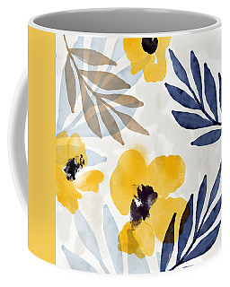 Yellow And Navy 3- Floral Art By Linda Woods Coffee Mug
