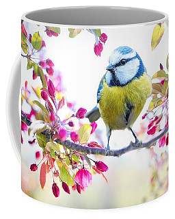 Yellow Blue Bird With Flowers Coffee Mug