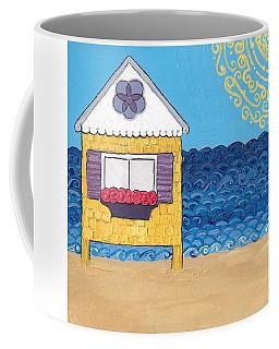 Yellow Cottage On The Beach Coffee Mug