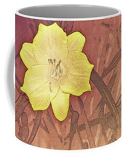 Yellow Day Lily Stencil On Sandstone Coffee Mug