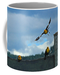 Coffee Mug featuring the photograph Yellow Headed Blackbirds by Ann E Robson