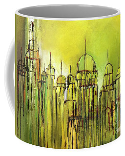Coffee Mug featuring the painting Yellow Mosque  by Nizar MacNojia