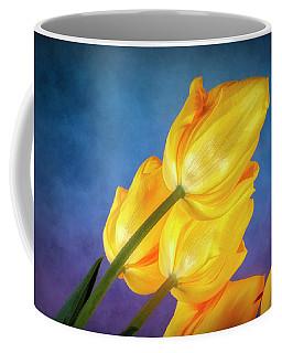 Yellow Tulips On Blue Coffee Mug