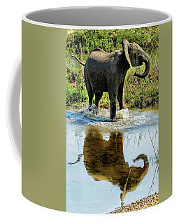 Young Elephant Playing In A Puddle Coffee Mug