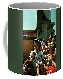 Young Fans Hold Up Baseballs For Royals Star George Brett To Sign Coffee Mug