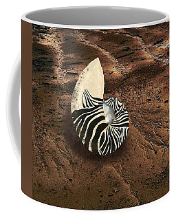 Coffee Mug featuring the mixed media Zebra Nautilus Shell On The Sand by Joan Stratton