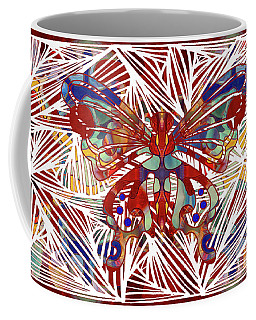 Coffee Mug featuring the digital art Zen Butterfly Abstract Digital Mixed Media Artwork By Omaste Witkowski by Omaste Witkowski