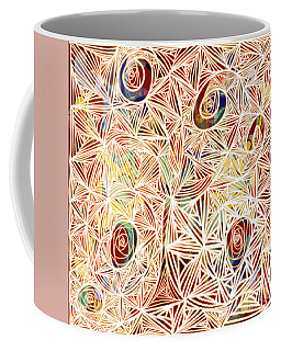 Coffee Mug featuring the digital art Zen Circles Tree Of Life Abstract Mixed Media Art By Omaste Witkowski by Omaste Witkowski