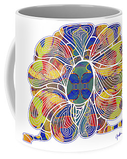 Coffee Mug featuring the digital art Zen Flower Abstract Meditation Digital Mixed Media Art By Omaste Witkowski by Omaste Witkowski