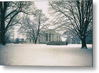 Historic Snowy Mansion Metal Prints